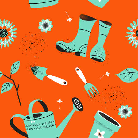 Seamless pattern on an orange background. Tools for seasonal work in the garden. Vector illustration in a modern trend style. 向量圖像