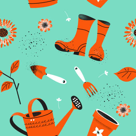 Seamless pattern on a light blue background. Tools for seasonal work in the garden. Vector illustration in a trending style. Illustration