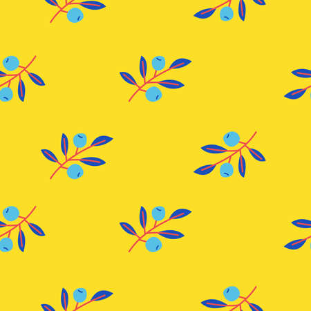 Cute floral seamless pattern with branches and berries. On yellow background. For printing on paper, textiles. Vector illustration. 向量圖像