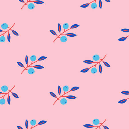 Cute floral seamless pattern with branches and berries. On a pink background. For printing on paper, textiles. Vector illustration.