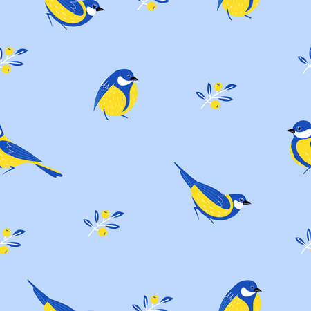 Seamless pattern with birds, flowers, leaves and berries. Birds titmice on a blue background. Vector illustration. Illustration