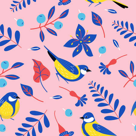 Seamless pattern with birds, flowers, leaves and berries. Birds titmice on a pink background. Vector illustration. Illustration