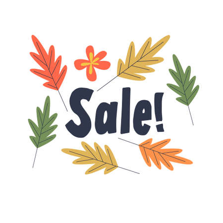 Autumn sale. Colorful autumn leaves on a white background. Vector illustration.