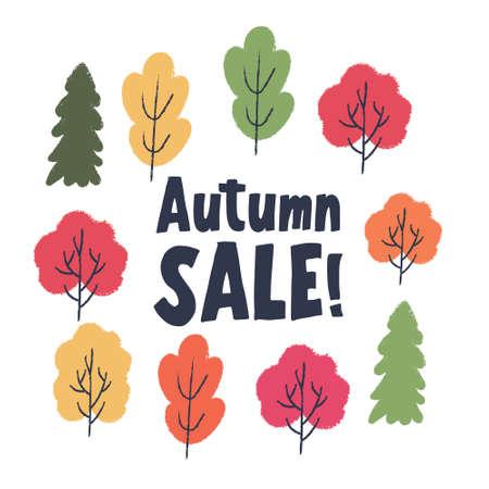 Autumn sale. Colorful autumn trees on a white background. Vector illustration. Standard-Bild