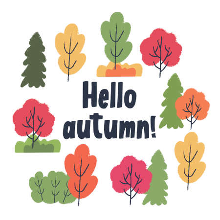 Hello, autumn. Autumn different colored trees and shrubs. Vector illustration, set of clipart.