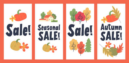 Autumn seasonal sale. A set of posters on a white background. Colorful autumn leaves, colorful pumpkins, a village house among autumn trees.