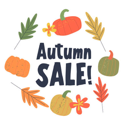Autumn sale. Colorful autumn leaves and colorful pumpkins on a white background. Vector illustration.