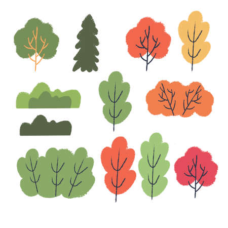 Autumn different colored trees and shrubs. Vector set of clipart.