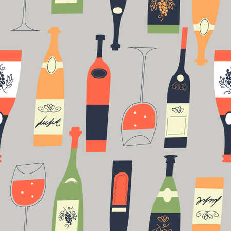 Seamless pattern of wine different wine bottles and glasses. Vector illustration on a light gray background. Illustration