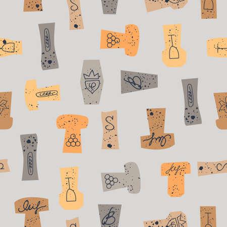 Seamless pattern of wine corks on a light gray background. Vector illustration. Illustration