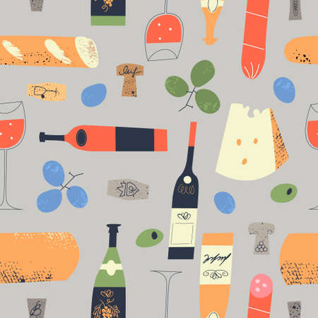 Seamless pattern of wine different wine bottles, glasses, corks, cheese, baguettes, salami and grapes. Vector illustration on a light gray background. Illustration