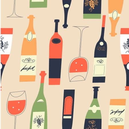 Seamless pattern of wine different wine bottles and glasses. Vector illustration on a light yellow background.