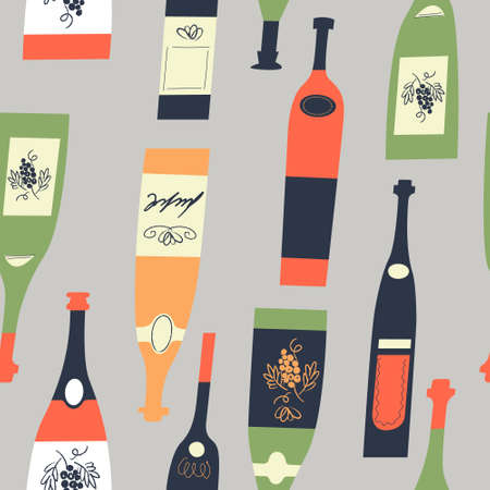 Seamless pattern of wine different wine bottles. Vector illustration on a light gray background.