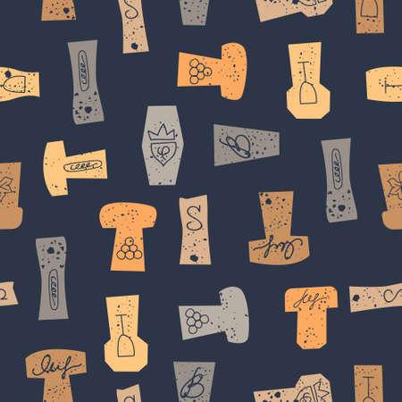Seamless pattern of wine corks on a black background. Vector illustration. Illustration