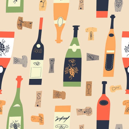 Seamless pattern of wine different wine bottles and corks. Vector illustration on a light yellow background.