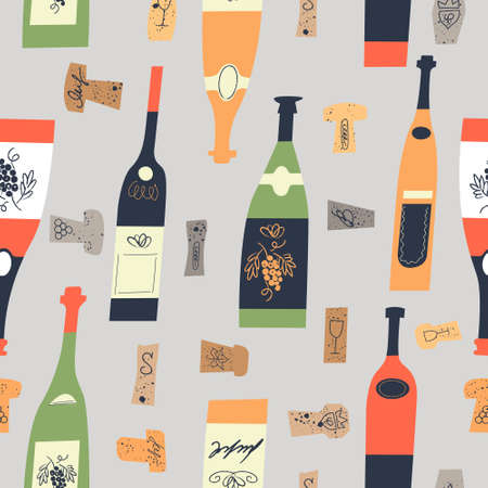 Seamless pattern of wine different wine bottles and corks. Vector illustration on a light gray background.