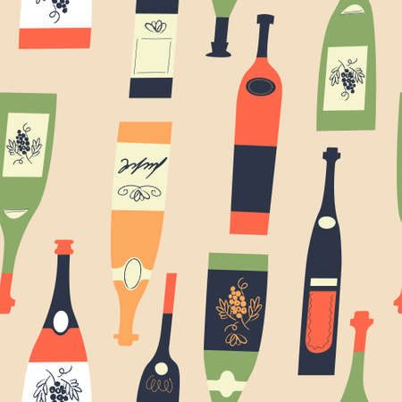 Seamless pattern of wine different wine bottles. Vector illustration on a light yellow background.