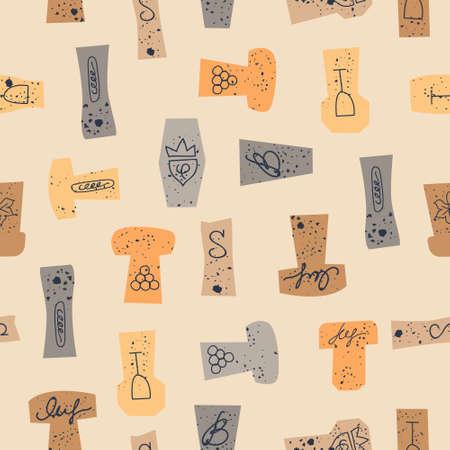 Seamless pattern of wine corks on a light yellow background. Vector illustration. Illusztráció