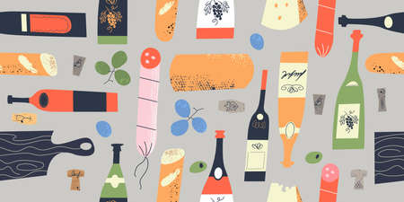 Seamless pattern of wine different wine bottles, glasses, corks, cheese, baguettes, salami and grapes. Vector illustration on a light gray background. Illusztráció