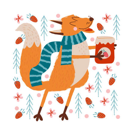 Hello, autumn. A funny red Fox in a warm striped scarf carries a jar of strawberry jam in the forest. Vector illustration. Illustration