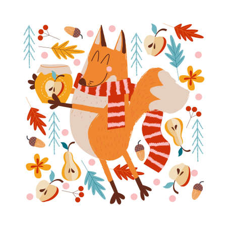 Hello, autumn. A funny red Fox in a warm striped scarf carries a jar of apple jam in the forest. Vector illustration. Illustration