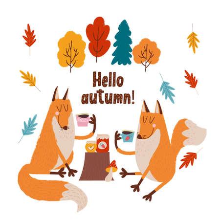 Hello, autumn. Two cute foxes drink tea with jam on the edge of the forest on an autumn day. Vector illustration.