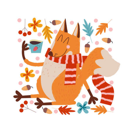 Hello, autumn. Funny red Fox in a warm striped scarf drinking tea on an autumn day. Vector illustration. Illustration