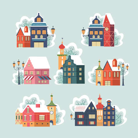 A set of cute snow covered winter houses. Vector illustration. Houses, towers, chapels, street lights and trees in the snow. Illustration