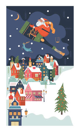 Santa Claus is flying over a small snow-covered city on a bottle of champagne. Vector festive Christmas card. Illustration