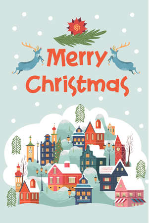 Merry Christmas. A small snow covered city. Christmas greeting card. Vector illustration. Illustration