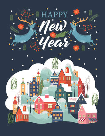 Happy new year. A small snow-covered town at night. Two Christmas reindeer. Vector greeting card.