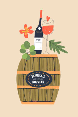 Beaujolais Nouveau, a festival of young wine in France. A bottle of wine and a glass of red wine stand on a barrel. Vector illustration for the festival.