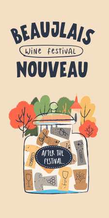 Beaujolais Nouveau, poster of a wine festival in France. There is a collection of wine corks in a glass jar. The inscription on the Bank-after the festival. Vector illustration.