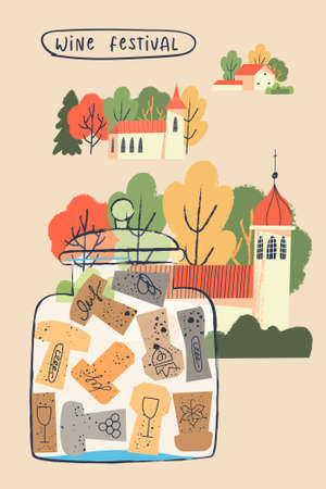 Nice rural landscape. Houses and autumn trees. Glass jar with a collection of wine corks. Vector illustration for the wine festival.