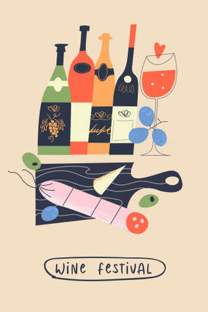 Traditional food and drinks. Bottles of wine, baguette, salami, grapes and cheese. Vector illustration for the harvest festival and wine festival.