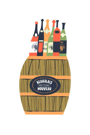 Beaujolais Nouveau, a festival of young wine in France. Different wine bottles stand on a barrel. Vector illustration for the festival.