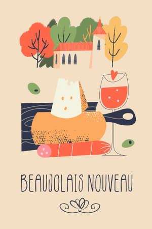 Beaujolais Nouveau, poster of the festival of young wine in France. Cute village landscape and traditional food. Cheese, salami, baguette and a glass of red wine. Vector illustration in flat style. Illusztráció