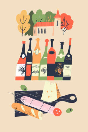 Cute village landscape and traditional food and drinks. Bottles of wine, baguette, salami and cheese. Vector illustration for the harvest festival and wine festival.