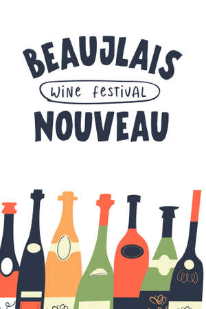 Beaujolais Nouveau, a festival of young wine in France. A set of colorful wine bottles. Vector illustration for the festival. Illusztráció