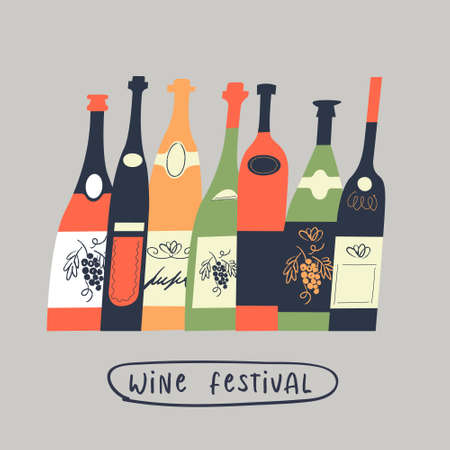 A set of different colored wine bottles. illustration in a flat unique style. Wine festival.