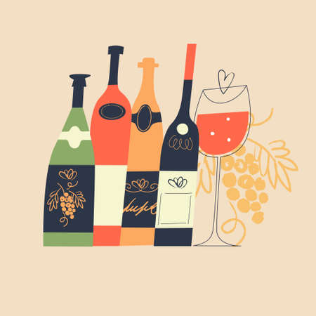 A set of different colored wine bottles and a glass of red wine. Wine festival. illustration in a flat hand drawn style.