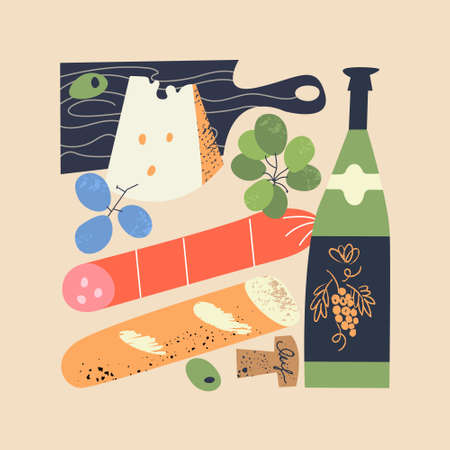 Still life enclosed in the shape of a rectangle. Wine, sausage, grapes, bread and cheese on a black cutting Board. Vector illustration in a flat hand drawn style.