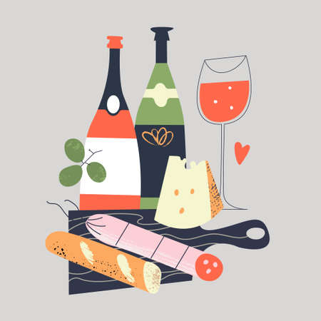 Still-life. Bread, grapes, salami, cheese on a black cutting Board. Several bottles of wine and a glass of red wine. Vector illustration in a flat style on a gray background.