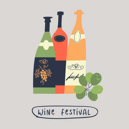 A set of different colored wine bottles and a bunch of grapes. Wine festival. illustration in a flat hand drawn style.