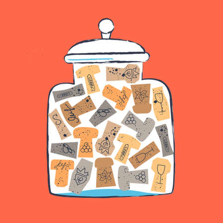 Glass jar with a collection of wine corks. illustration in a flat hand drawn style on a red or orange background.