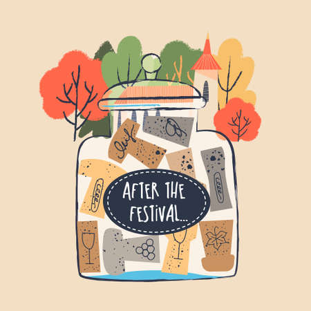 Glass jar with a collection of wine corks. illustration in a flat hand drawn style on a light background. Inscription on a glass jar After the festival