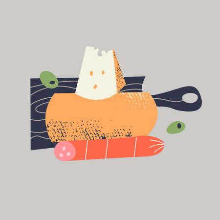 Still-life. Bread, salami, cheese on a black chopping Board. Vector illustration in a flat style on a gray background. Illusztráció