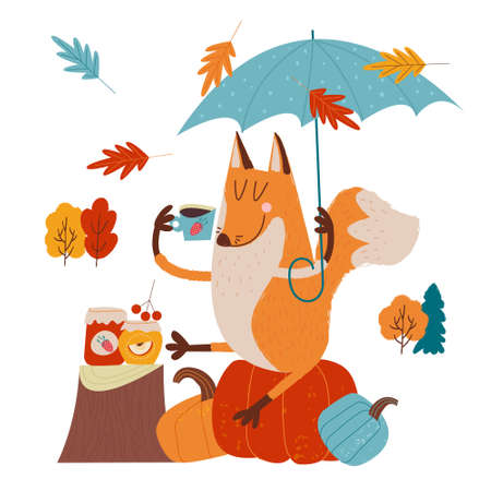 Hello, autumn. Funny red Fox with an umbrella drinking tea with jam on an autumn day. illustration. Illusztráció
