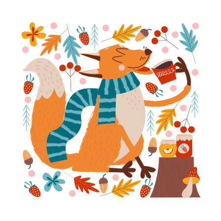 Hello, autumn. A funny red Fox in a warm striped scarf drinks tea with Apple and strawberry jam on an autumn day. illustration.