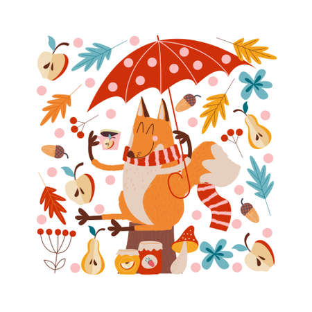 Hello, autumn. Funny red Fox with an umbrella drinking tea with jam from apples, pears and strawberries sitting under an umbrella on an autumn day. illustration.